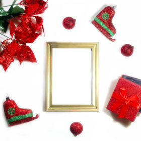 red-holiday-items-with-picture-frame